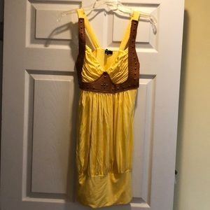 Sky yellow mini dress with leather/stud detail